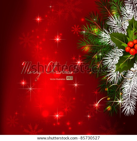 Red  background with Christmas fir tree and holly