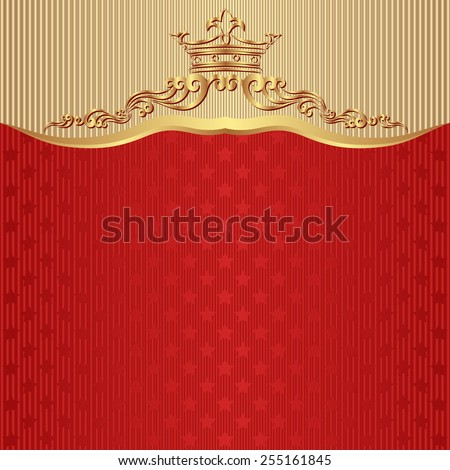 red background with crown and stars - stock vector