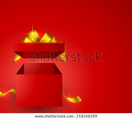 Red background with 3d realistic gift box and golden bow. Vector illustration.