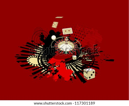 red background with dice and roulette in casino - stock vector