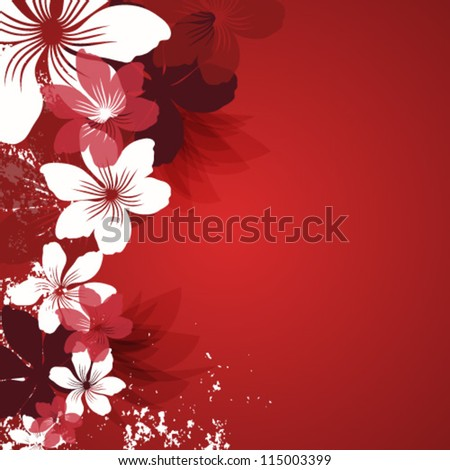 Red background with flowers - stock vector