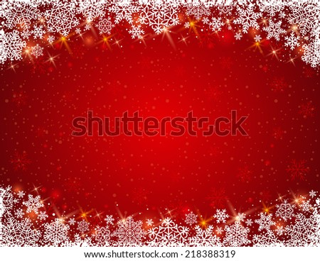 red background with  frame of snowflakes,  vector  - stock vector