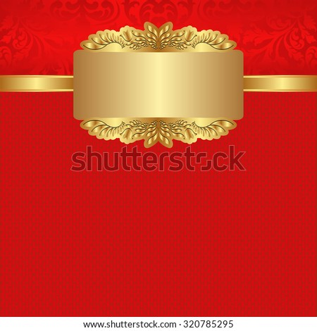 red background with golden banner - stock vector