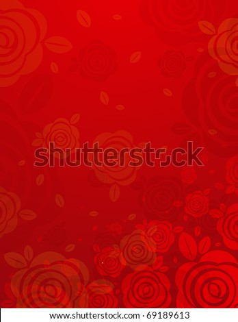 red background with many  roses, vector illustration