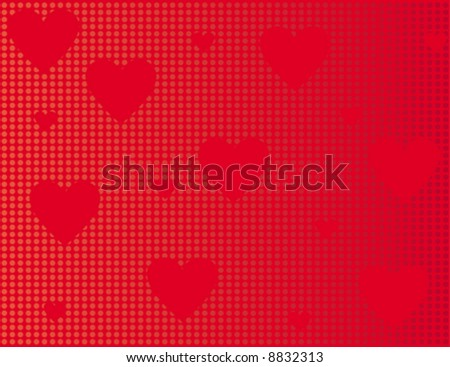 Red background with red hearts and circles. illustration.