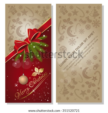 Red background with red ribbon and bow, and design elements for Christmas and New Year. Merry Christmas. Vector flyer template.