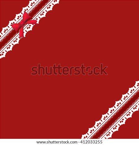 Red background with ribbon bow and lace vintage style, Greeting card, template or background - stock vector