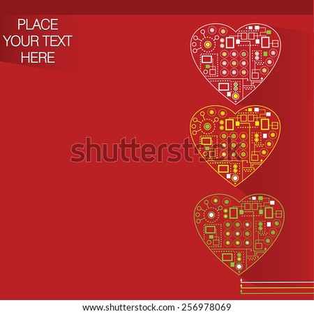 red background with scheme hearts - stock vector
