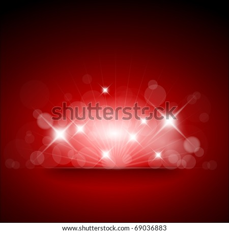 Red background with white lights and place for your text - stock vector