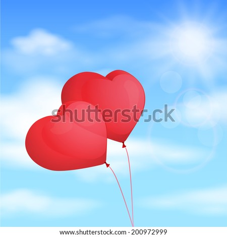 Red balloon, heart on the background of blue sky. Vector illustration - stock vector