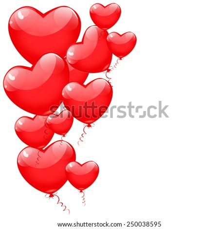 Red balloons in the shape of a heart isolated on white background. Happy Valentines day vector. - stock vector