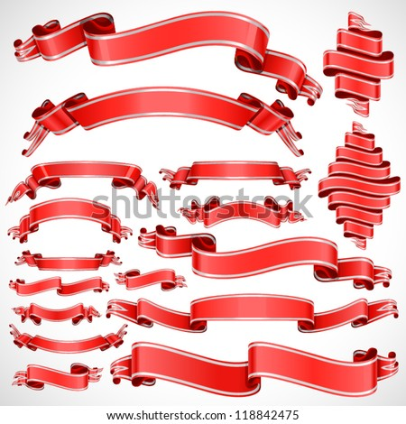 Red banner large set, vector illustration - stock vector