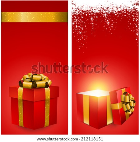 Red banners with 3d realistic gift box and golden bow. Vector illustration.  - stock vector