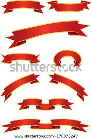 Red Banners with gold strokes. Vector illustration. - stock vector