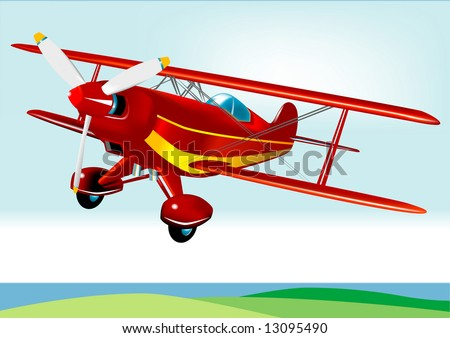 Red Baron Acrobatic Aeroplane (VECTOR) - stock vector