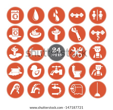 Red Bathroom Icons Set, eps vector illustration - stock vector