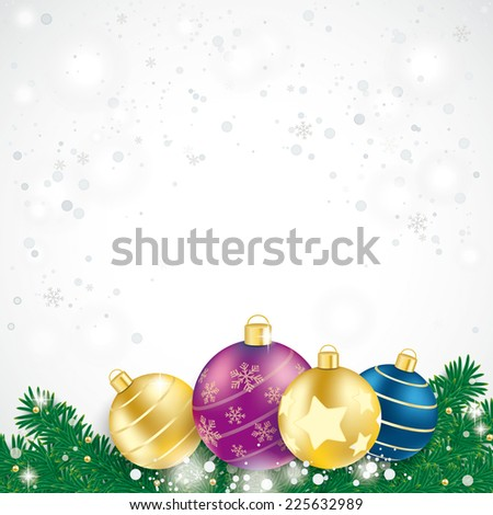 Red baubles with fir branches on the blue background. Eps 10 vector file.