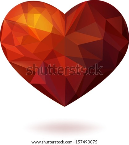 Red beautiful heart, which consists of geometric forms - triangles - stock vector