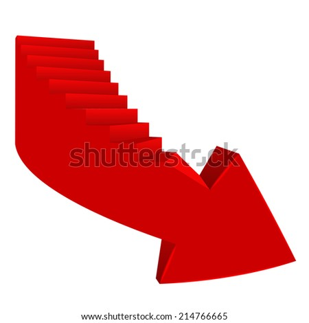 red bended arrow down direction with staircase on side vector illustration