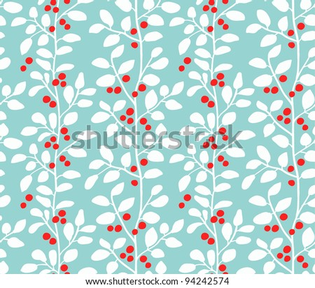 Red berries on blue background pattern - stock vector