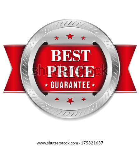Red best price badge with ribbon
