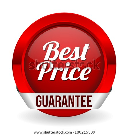 Red best price button with metallic ribbon - stock vector