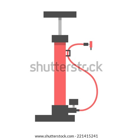 red bicycle pump on white background. flat design modern vector illustration