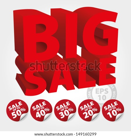 Red Big Sale 3D Text with Save up to 10 - 50 percent on Stickers and tags : EPS10 Vector - stock vector