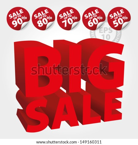 Red Big Sale 3D Text with Save up to 50 - 90 percent on Stickers and tags : EPS10 Vector - stock vector