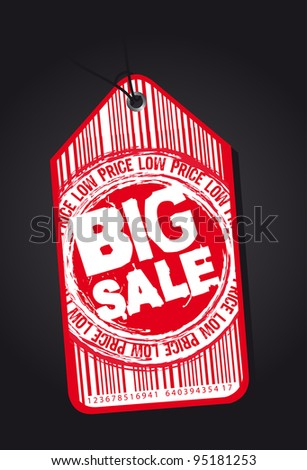 red big sale tag over black background. vector illustration - stock vector