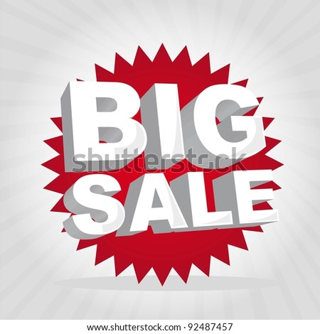 red big sale tag over gray background. vector illustration - stock vector
