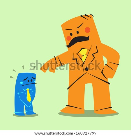 red big size boss complains small business man - stock vector