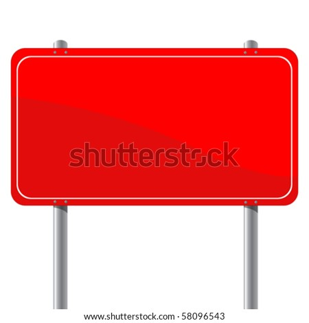 Red billboard, isolated object over white background - stock vector