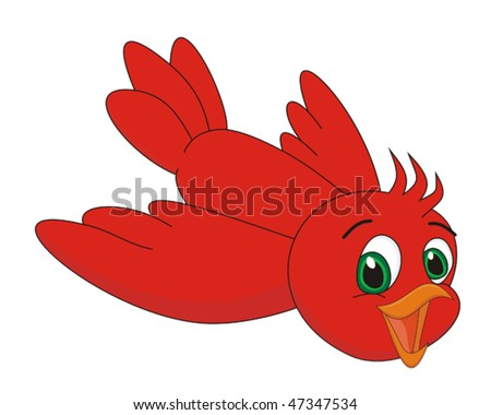 Red bird cartoon vector illustration - stock vector