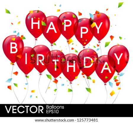 Red birthday balloons - stock vector
