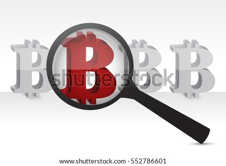 red bitcoin under a magnify glass illustration design graphic over white