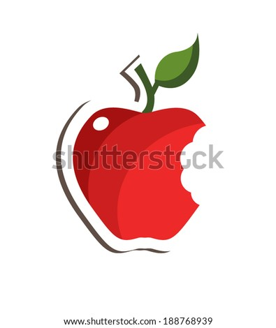 Red bitten apple with leaf isolated over white - stock vector