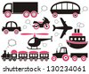 Red, black and grey means of transport icons. Easy to change color - stock vector
