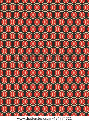 Red, black and tan repeating circle pattern background - stock vector