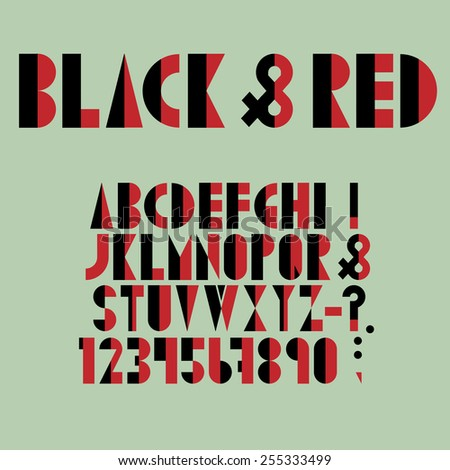 Red-black font, numbers and punctuation mark in retro style. Vector set - stock vector