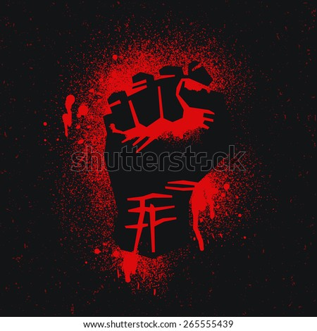 Red - black protest logo. Fist raised up.  - stock vector
