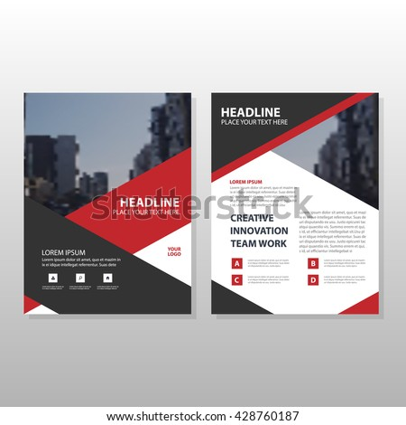 red brochure template - red black triangle leaflet brochure flyer stock vector