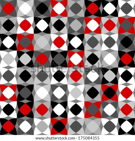 red, black, white circles & rectangles seamless pattern - stock vector