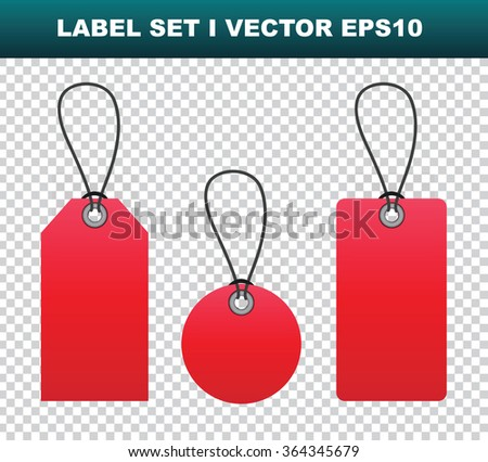 Red blank label templates on transparent background, vector eps10 illustration
