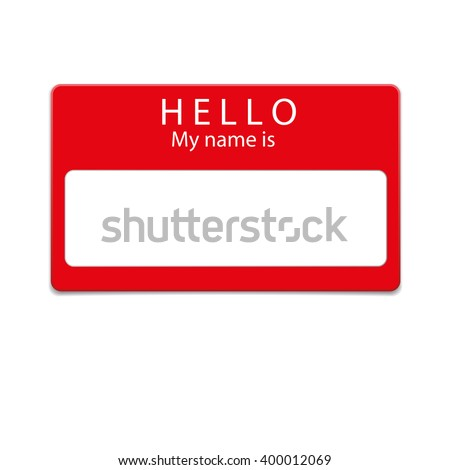 Red blank name tag isolated on white background - stock vector
