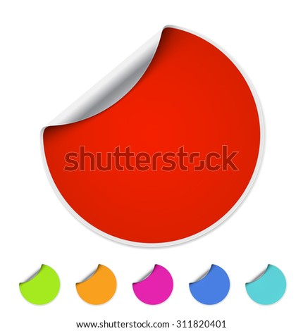 Red blank self-adhesive paper on white background. - stock vector