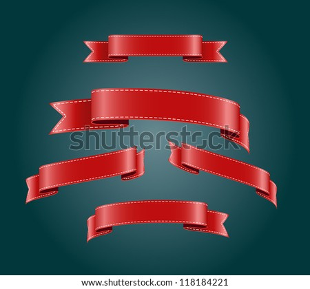 Red blank silky vector ribbon tags collection - stock vector
