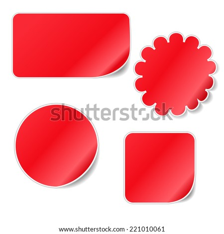 Red Blank Sticky Curled Paper Set Isolated on White - stock vector