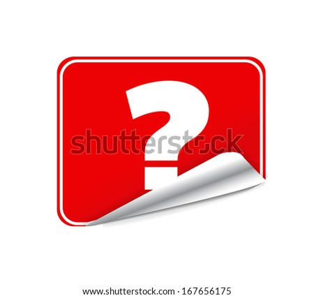 Red Blank Sticky Paper Question Mark Isolated on White Background