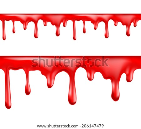 Red blood drips seamless patterns on white background. Vector illustration - stock vector